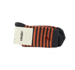 Calcetín corto con rayas gris y naranja Condor