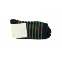 Calcetín corto con rayas negro y verde Condor