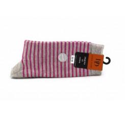Calcetines grises con rayas fucsia Doré Doré