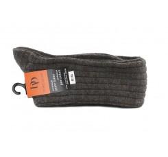 Calcetín alto marrón de lana con canalé Doré Doré