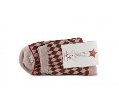 Calcetín corto rosa estampado rombos Hop Socks Arlequín
