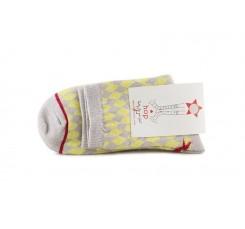 Calcetín corto amarillo estampado rombos Hop Socks Arlequín
