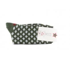 Calcetin corto verde con florecitas Hop Socks