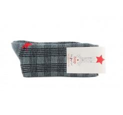 Calcetin corto gris con cuadros e hilo brillante Hop Socks