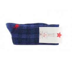 Calcetin corto azul con cuadros e hilo brillante Hop Socks