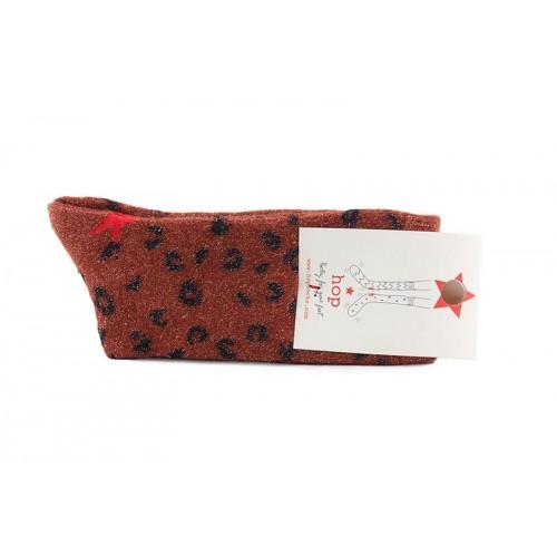 Calcetín corto brillante en color teja con estampado de leopardo Hop Socks