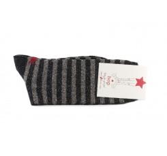 Calcetín corto negro con rayas lurex Hop Socks