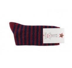 Calcetín corto azul burdeos con rayas lurex Hop Socks