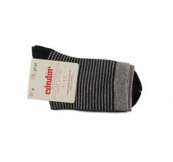 Calcetin corto con rayas gris y negro lurex Cóndor