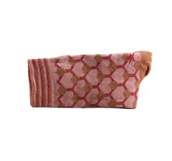Calcetín corto rosa estampados geométricos Red Hop Socks
