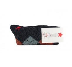 Calcetín corto negro lurex con rombos Hop Socks