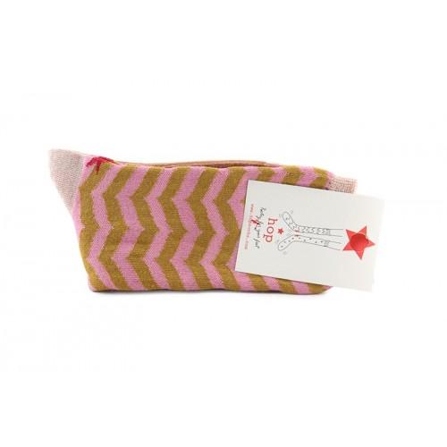 Calcetín corto con zigzag en color rosa y mostaza Hop Socks