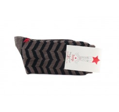Calcetín corto con zigzag en color negro y marrón Hop Socks