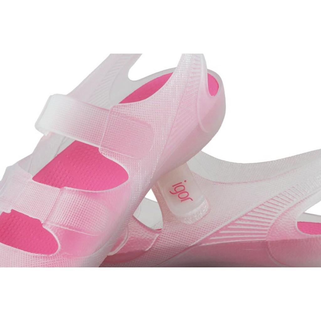 Cangrejera transparente y rosa con velcro Igor