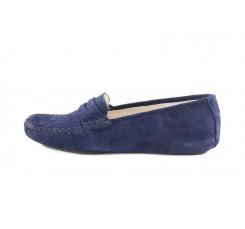 Zapatilla mocasín para casa de ante azul Jeromín