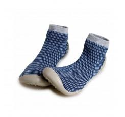 Zapatilla para casa calcetin azul/gris con rayas finas Collegien