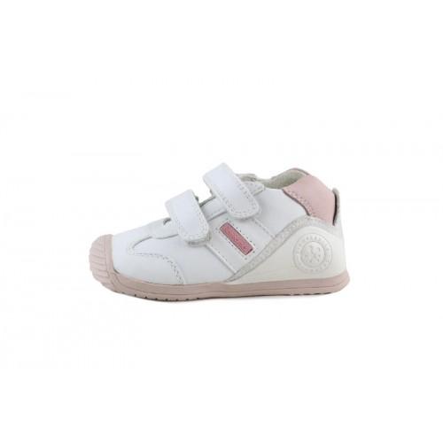 Deportivo piel blanco y rosa con doble velcro Biomecanics