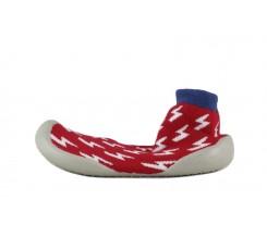Zapatilla para casa calcetín rojo con rayos Collegien