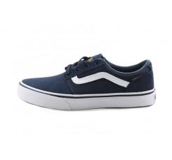 Zapatilla ante azul con raya y cordón Vans