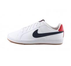 Deportiva blanca con cordón símbolo azul y talonera roja Nike Cour
