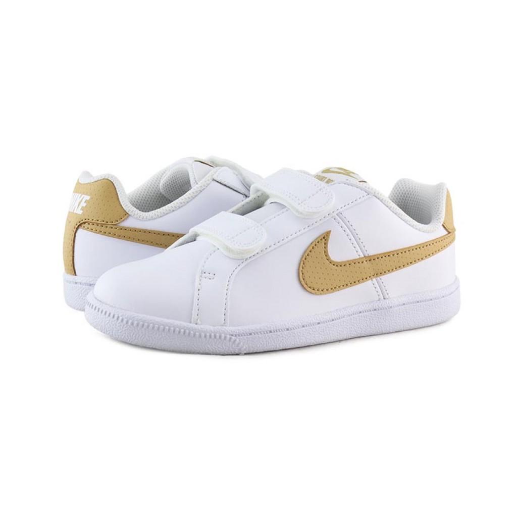 Deportiva blanca con simbolo mostaza con velcro Nike Court
