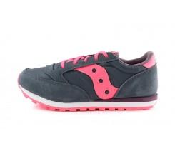 Zapatilla deportiva gris con cordón y logo rosa Saucony Jazz