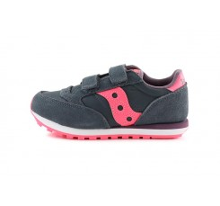 Zapatilla deportiva gris con velcro y logo rosa Saucony Jazz