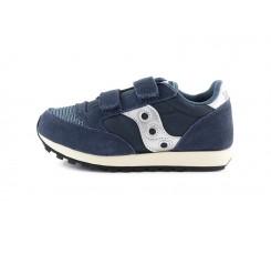 Zapatilla deportiva azul con velcro y logo plata Saucony Jazz