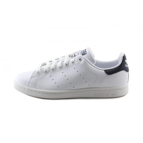 Zapatilla blanca Stan Smith con cordón y logo azul oscuro Adidas