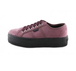 Zapato de antelina ciruela con cordón y plataforma Victoria