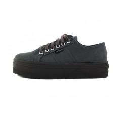 Zapato de antelina gris con cordón Victoria