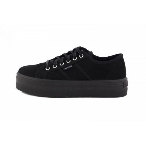 Zapato de antelina negro con cordón Victoria