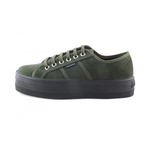 Zapato antelina kaki con cordón Victoria