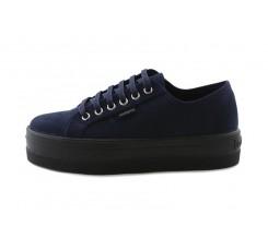 Zapato antelina azul con cordón Victoria