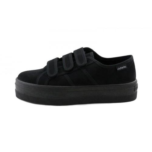 Zapato antelina negro con velcro Victoria