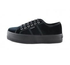 Zapato de terciopelo negro con cordón Victoria