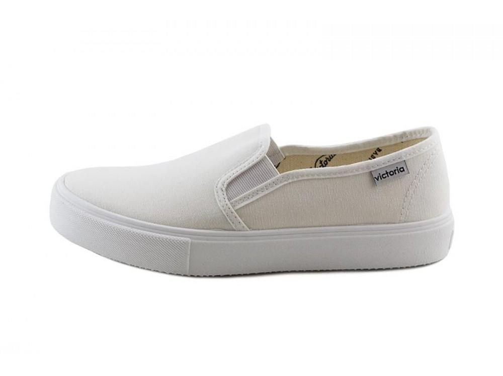 Zapatilla con de lona blanca slip on con Zapatilla elásticos Victoria 2392ee