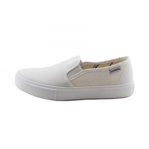 Zapatilla de lona blanca slip-on con elásticos Victoria