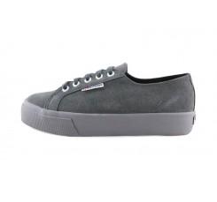 Zapatilla de ante gris con plataforma y cordón Superga