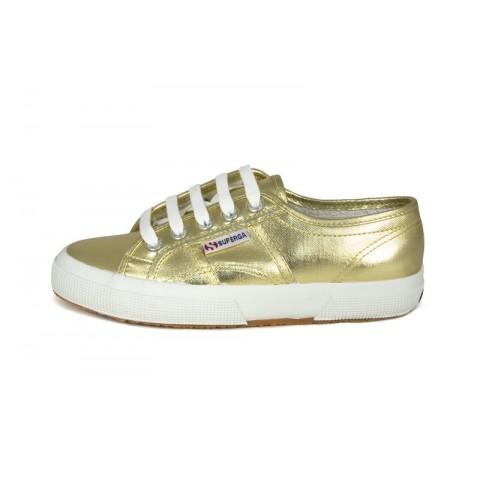 Zapatilla metalizada dorada Superga