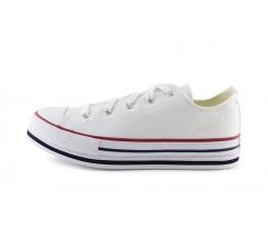 Zapatilla de lona blanca junior con plataforma Converse