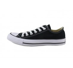Zapatilla de lona negra y suela blanca con cordón Converse