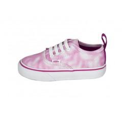Lona desteñida rosa/blanca velcro y cordón Authentic Vans