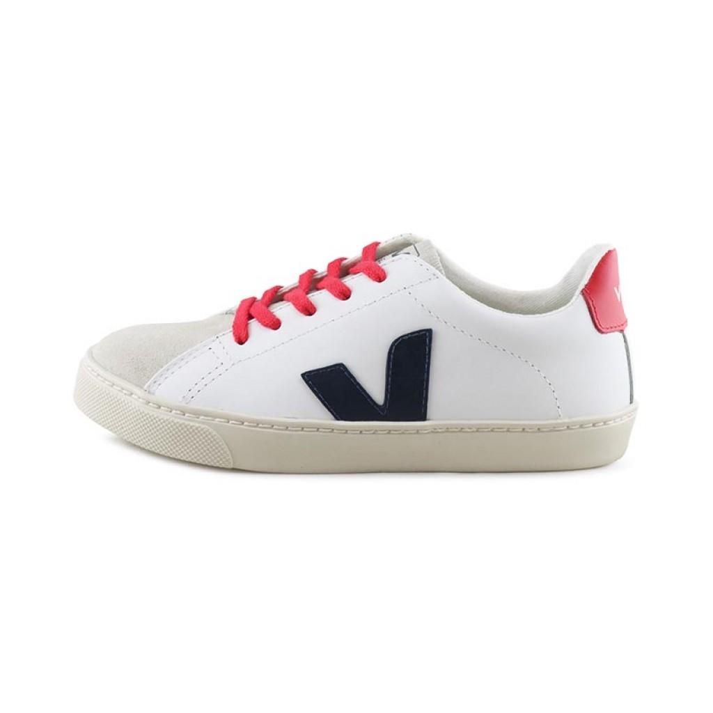 Zapatilla piel blanco/rojo/azul con cordón y puntera de ante Veja