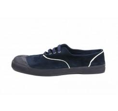 Zapatilla ante azul con cordón Bensimón