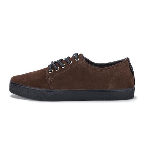 Zapatilla con cordón ante marrón y suela color azul Higby Pompeii
