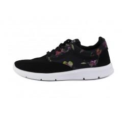 Zapatilla deportiva ante negro con flores Vans