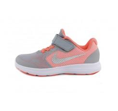 Deportiva gris y naranja velcro y cordón Nike Revolution