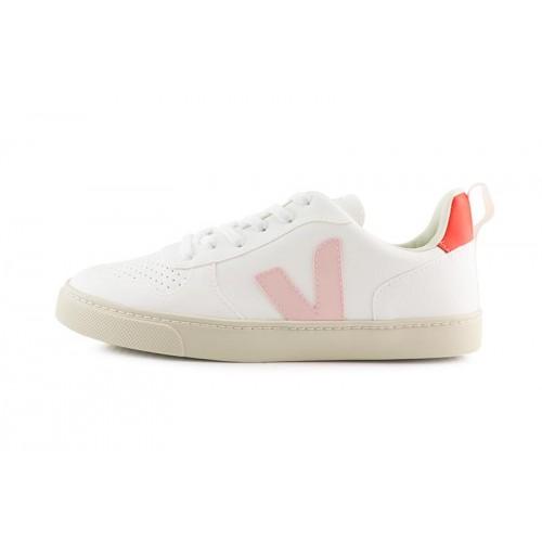 Deportiva blanca con cordón y logo rosa/naranja  Veja SmallV10