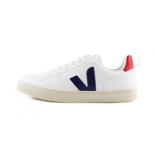 Deportiva blanca con cordón y logo azul/rojo Veja SmallV10